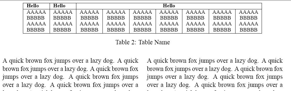 Table latex caption